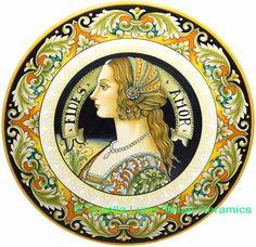 """Ceramic Decorative plate - Portrait FIDES AMOR (""""Faith in Love"""") with White Matte (White on White) - 16.5 inch diameter (42cm)"""