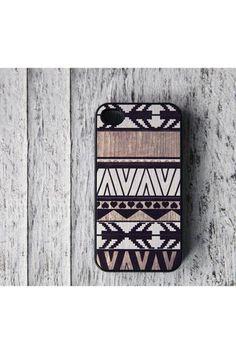 Geometric Art On Wood Print iPhone 4 Case