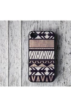 Geometric Art On Wood Print iPhone 4 Case