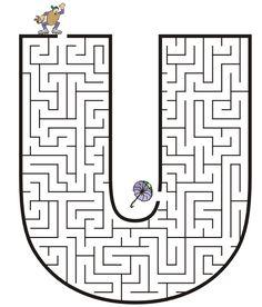 Free Printable Maze for Kids | Uppercase Letter U