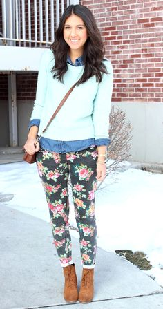 Floral Pants: I'm not a huge fan of floral skinnies (since I wore them in the early 90s) but this is a cute look.