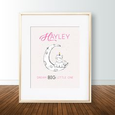 Personalized name / Custom Unicorn poster / wall art - Dream BIG little one with moon and unicorn. Unicorn Poster, Unicorn Wall Art, Nursery Prints, Poster Wall, Dream Big, Art Work, Digital Prints, My Etsy Shop, Posters