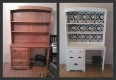 Desk and shelves I sanded down, painted white, and wallpapered the background of the shelves!
