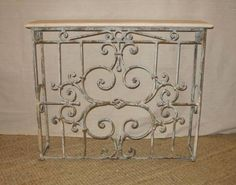 """Tinnin Iron and Travertine Console Table Petite French Style Console  31"""" H x 36"""" W x 8"""" D $995.00"""
