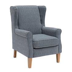 SAM FABRIC WINGBACK ARMCHAIR GREY Wingback Armchair, Grey Armchair, Small Baby Nursery, Living Room, Dark Grey, Room Ideas, Furniture, Fabric, Home Decor