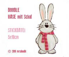 Stickmuster - ★Hase mit Schal★ 5x10cm 3D-Doodle Stickdatei - ein Designerstück von MrsDoodle bei DaWanda
