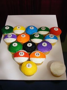 Pool table balls Cupcake Decorating Ideas | Cool Themed Cakes & Cupcake Decorating Ideas For Dad On Fathers Day ...