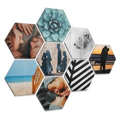 A hexagon photo is a cool way to continue to personalize your walls quickly and easily with your own images. With these fun hexagonal photos on forex, plexiglass or (dibond) aluminum you will never get tired of the walls in your house. 3d Wall Art, Wall Collage, Dorm Design, Art Pictures, Photos, Cool Tools, Decorative Boxes, Collages, Creations