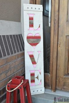 DIY big LOVE wood sign for Valentine's decor. Free plans and tutorial. valentines day crafts LOVE Valentine's Wood Sign - Her Tool Belt Diy Valentine's Day Decorations, Valentines Day Decorations, Valentine Day Crafts, Love Valentines, Valentine Ideas, Decor Ideas, Wood Ideas, Diy Ideas, Craft Ideas