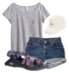 """""""sleepaway camp."""" by maciemccoy ❤ liked on Polyvore featuring Vineyard Vines, H&M and Chaco"""