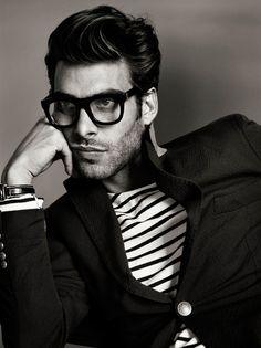 stripes, blazer and glasses