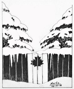 pen and ink Canada snow fence maple leaf drawing illustration