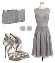 """Grey outfit"" by mayraliz ❤ liked on Polyvore featuring Jimmy Choo, J.Crew, J. Furmani, Karen Kane, women's clothing, women, female, woman, misses and juniors"