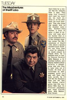The Misadventures of Sheriff Lobo was a 1979 spin-off of the BJ and the Bear NBC series.