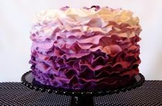 Three-Tier Square Purple Ombre Wedding Cake by Lulu Cake Boutique
