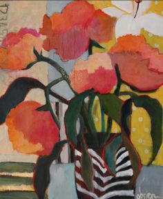 "Daily Painters Abstract Gallery: Contemporary Abstract Still Life Flower Art Painting ""Autumn Day"" by Santa Fe Artist Annie O'Brien Gonzales"