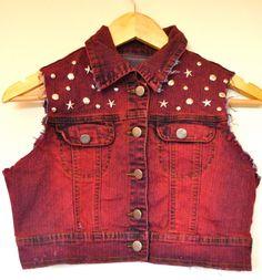 Customised Studded Pink Denim Jacket