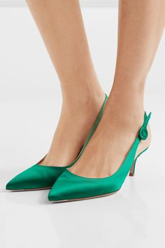 Heel measures approximately 55mm/ 2 inches Emerald satin Buckle-fastening slingback strap Made in ItalySmall to size. See Size & Fit notes.