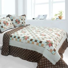 [Melt the Snow] 3PC Cotton Vermicelli-Quilted Printed Quilt Set (Full/Queen Size)