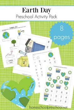 Enhance your Earth Day preschool celebrations with this mini-learning pack. Add these activities to your homeschool preschool lessons. #homeschoolprek #earthday #printables #earlylearning    https://homeschoolpreschool.net/preschool-earth-day-printable/