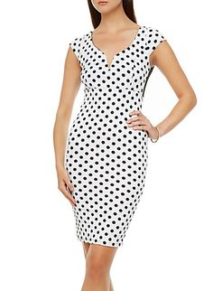 Cap Sleeve V-Neck Polka Dot Bodycon Dress with Lace Back