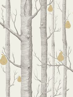 Cole & Son Contemporary Restyled Wallpaper Collection Woods and Pears in Grey and White wallpaperdirect