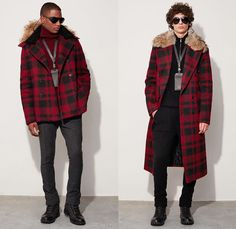 Michael Kors Collection 2016-2017 Fall Autumn Winter Mens Lookbook Presentation - New York Fashion Week Mens NYFW - Performancewear Utilitarian Wool Ombre Hoodie Outerwear Trench Coat Furry Plush Quilted Waffle Puffer Down Bomber Jacket Parka Cargo Pockets Boots Turtleneck Chunky Knit Sweater Plaid Tartan Check Cardigan Neckwear Lanyard Peacoat Nautical Bag Tote Duffel Messenger Backpack