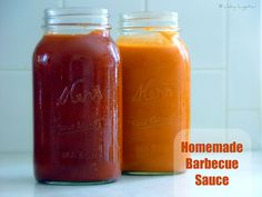 Homemade Barbecue Sauce 2 kinds ... (Orange) Sweet and Tangy BBQ Sauce  & Classic (Red) BBQ Sauce.