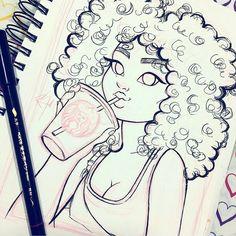 Drawings of black girls, hair sketch, sketch ink, art sketches, sushi drawi Cute Sketches, Girl Drawing Sketches, Art Drawings Sketches Simple, Pencil Art Drawings, Cartoon Drawings, Cute Drawings, Sketch Ink, Drawing Drawing, Hair Sketch