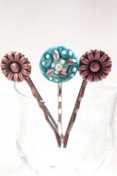 Gerber Daisy Hair Pin Set by bluehoneyjewelry on Etsy, $12.00