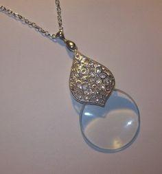 Teardrop Filigree Floral Rhinestone Pendant Magnifying Glass Necklace   jenstarr - Jewelry on ArtFire