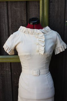Vintage 1950's Cream Bombshell Wiggle Dress With by pursuingandie, $195.00