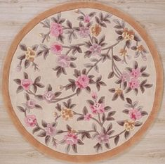 Handmade Circular Leaf Area Rug In Ivory With Beige Accents