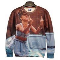 New Fashion Men/Women's 3D Hoodies Funny printed Erect middle fingers Rihanna 3d sweatshirts