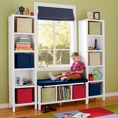 window seat for kids rooms; kids reading nook; kids storage ideas; kids bedroom ideas; kids window seat