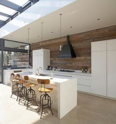 White And Recycled Timber Kitchens Design Ideas, Pictures, Remodel and Decor
