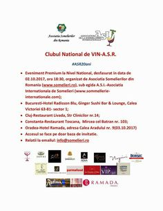 Clubul National de VIN-A.S.R. #ASR20ani  Eveniment Premium la Nivel National, desfasurat in data de 02.10.2017, ora 18:30, organizat de Asociatia Somelierilor din Romania.  Citeste mai mult pe: http://www.vipstyle.ro/clubul-national-de-vin-a-s-r-asr20ani/