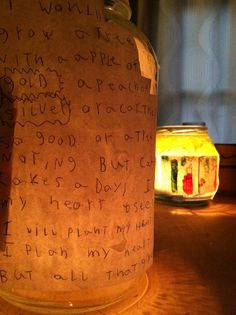 make a story lantern.  Write the story, draw pictures, glue on glass jar, put candle inside and watch story come alive.  Love this idea!