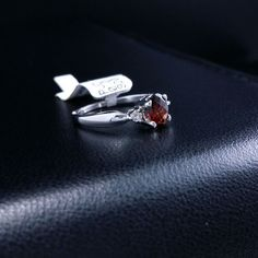Solid 14k White Gold Natural Diamond Garnet Ring Oval Cut .94 ct #GC #ThreeStone