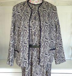 WOMENS VINTAGE GORDON WYATT SUIT BLUE GREY PAISLEY DRESS JACKET SUIT RRP £107.95