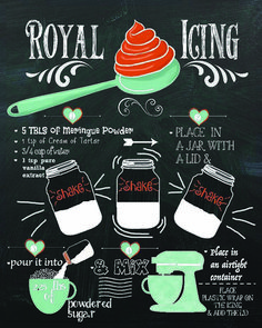 Royal Icing For Cookies Save yourself a little time by printing this free royal icing recipe chalkboard printable. Frame it or hang it on the fridge for easy access. Easy Royal Icing Recipe, Royal Icing Sugar, Sugar Cookie Icing, Sugar Cookies Recipe, Cookie Recipes, Flooding Icing Recipe, Icing Frosting, Cake Icing, Frosting Recipes