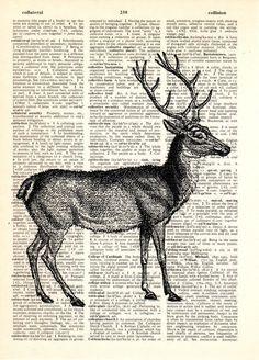 Wanddeko - Deer Wanddekorkunst Hirschwandbilder - ein Designerstück von Dictionary-vintage-book-page bei DaWanda