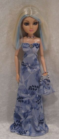 """MOXIE TEENZ 14"""" Doll Clothes #24 Handmade Dress, Beaded Necklace & Purse Set #HandmadebyESCHdesigns"""