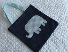 Girl's bag denim bag for girl small tote bag elephant by Jamberoon