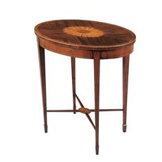 Mahogany and Satinwood Hepplewhite Oval Occasional Table with Stretcher