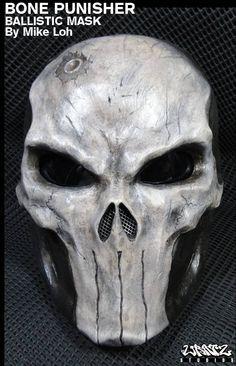 So sick!! Bone Skull Punisher Mask Pre-Order. $280.00, via Etsy.