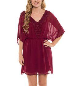 Another great find on #zulily! Burgundy Lace V-Neck Blouson Dress #zulilyfinds