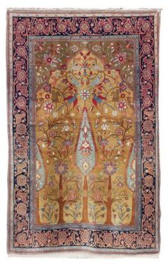 KASHAN 'MOHTASHAM' PRAYER RUG  CENTRAL PERSIA, CIRCA 1890  Touches of repiling and moth damage, scattered small stains, minute repair in selvage, one corner and kilim frayed 6ft.6in. x 4ft.3in. (198cm. x 130cm.)