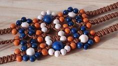 Beaded macrame hemp bracelet Flat and wide cuff macrame jewelry Wrap waxed cotton cord bracelet Hemp cuff bracelet
