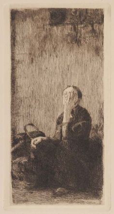 At the Church Wall Etching; Käthe Kollwitz 1893